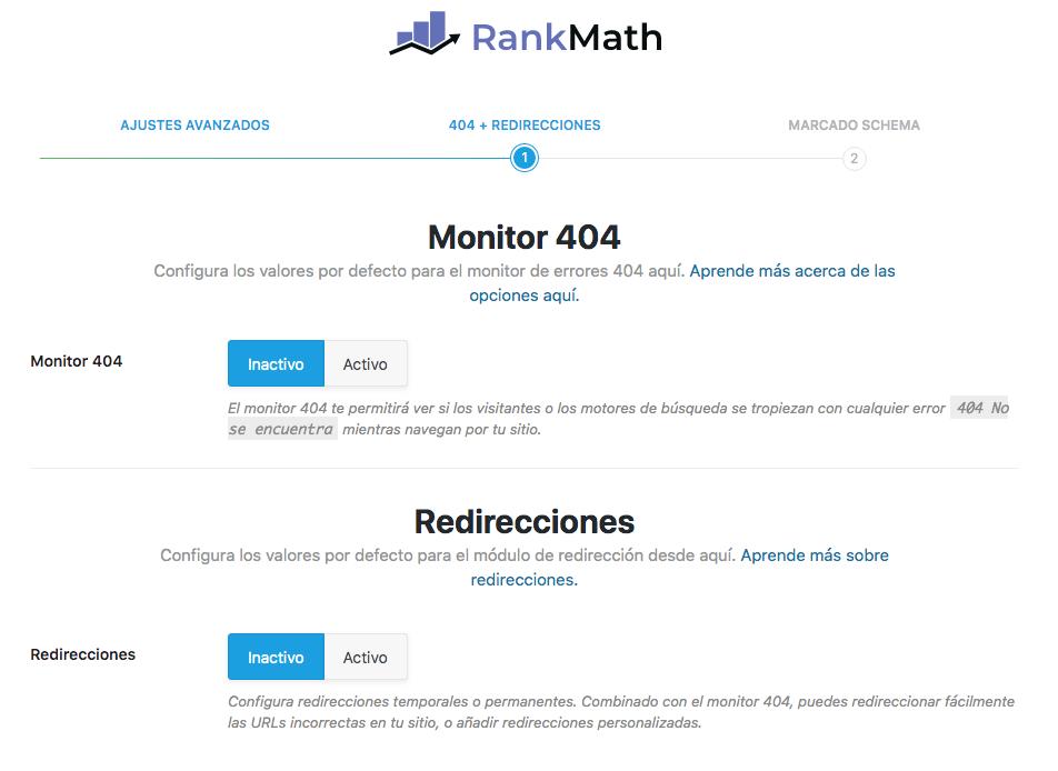 Monitor 404 y redirecciones Rank Math SEO