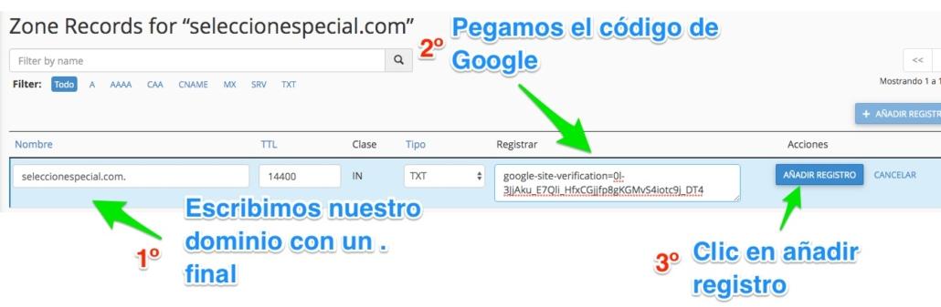 Añadir código de Google Search Console en cPanel