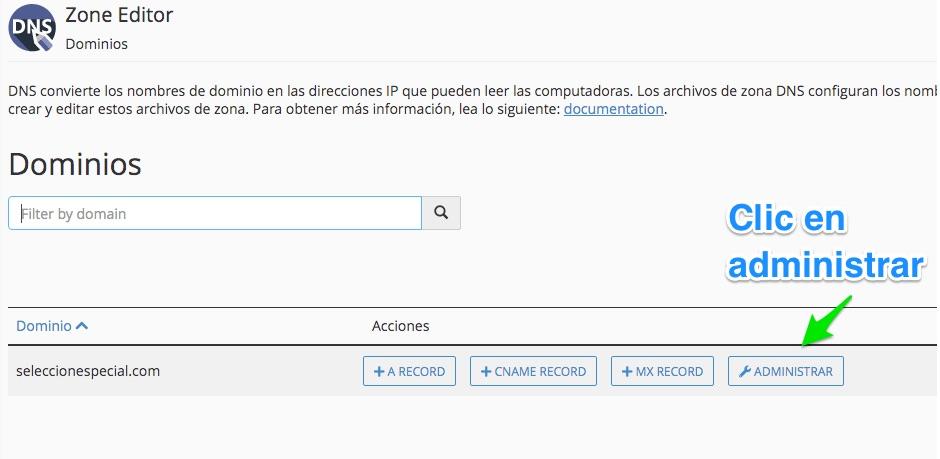 Administrar registros DNS Google Search Console