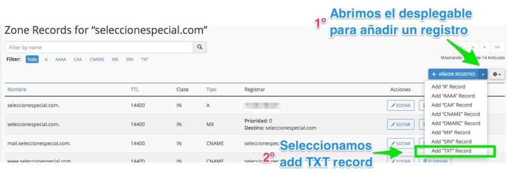 Seleccionar registro TXT