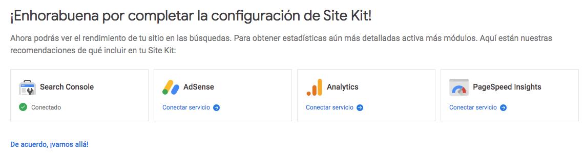 ¡Enhorabuena por completar la configuración de Site Kit!