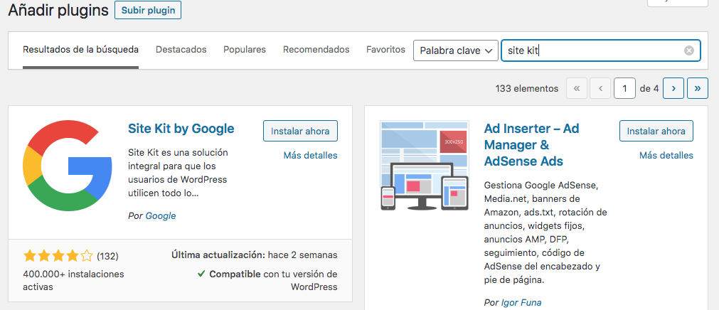 Instalar site kit en WordPress