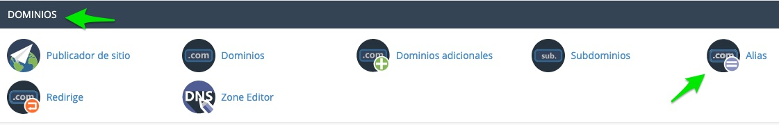 cPanel, sección de dominios, herramienta Alias para poner en parking un dominio