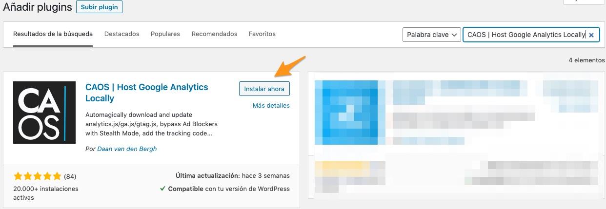 buscar y añadir plugin de desde WordPress