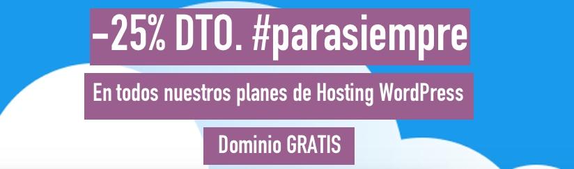25% descuento #parasiempre en todos nuestros planes de hosting WordPress + dominio gratis
