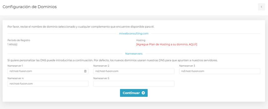 Configuración de dominio web