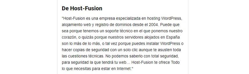 Descripción Host-Fusion en Google My Business