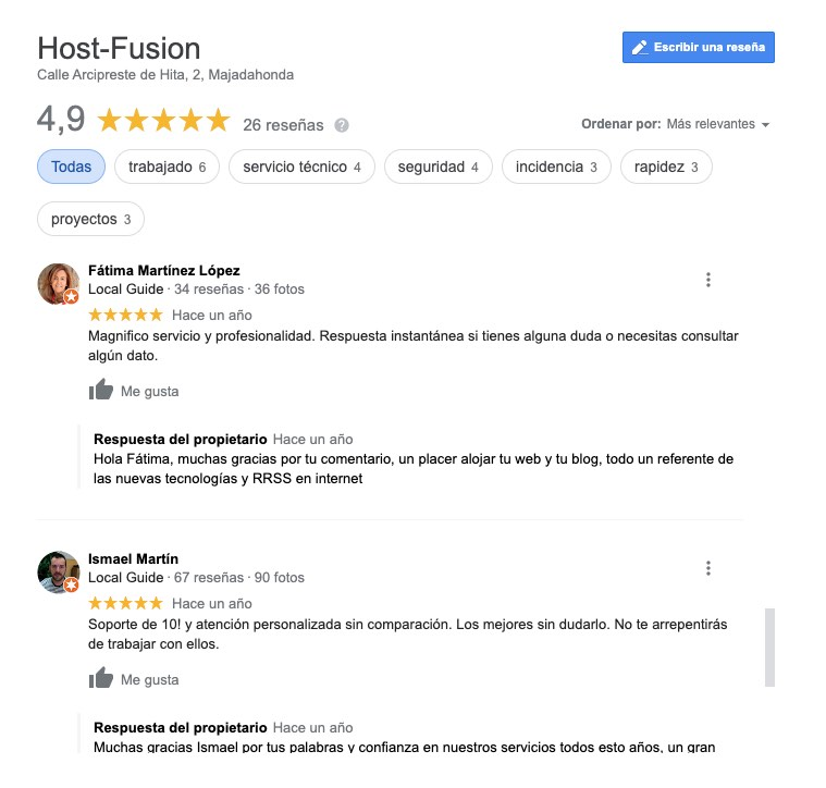 Reseñas Google My Business Host-Fusion