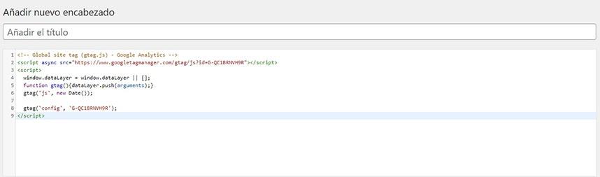 """Instalación manual de la etiqueta de Google Analytics 4 directamente en el """"Head"""" de tu web con Generate Press"""