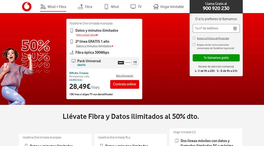 Landing page Vodafone